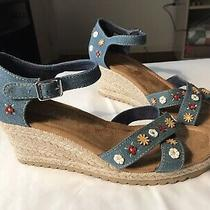 Skechers Womens Monarchs Cali Fever Embroidered Wedge Sandals Denim Blue Size 9 Photo