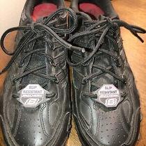 Skechers Work Slip Resistant Black Leather Sneakers Size 8.5 Photo
