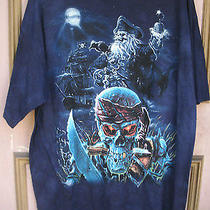 Skeleton Pirates & Ship T-Shirt by the Mountain -Size Lnavy Blue -Fantasyskull Photo