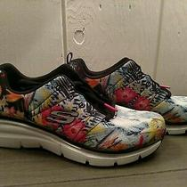 Sketchers Women's 8 New Without Box Qvc Black/multi Floral Sneakers W/lifts Photo
