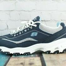 Sketchers Womens d'lites Navy Blue White Lace Up Memory Foam Sneakers Size Us 9 Photo