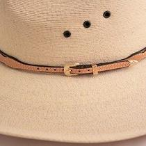 Skinny Natural Leather Western Horse Hair Hat Band Gold Buckle Cowboy Hatbands Photo