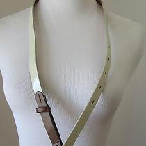 Skinny Patent Leather Belt Cream Sz M/l Madewell New Photo