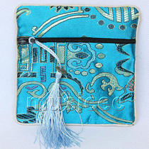Sky-Blue Jewelry Pocket Money Silk Zipper Bags Pouches T878a03 Photo