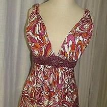 Sky Whiskey Blush Multi Print 100% Silk Sleeveless Leather Belted Top Size M Nwt Photo