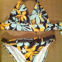 Skye Aqua/peach Print Bikini 4 Piece Set Xl Photo