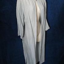 Slate Gray Silk Linen Unique Chiffon 3/4 Open Front Dress Jacket Valerie Stevens Photo