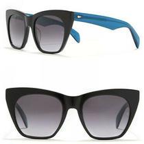 Sleek Nwt Rag & Bone Cat Eye Sunglasses 54mm W/ Case Black Blue Arms Uv Photo