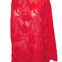 Sleep Shirt Vintage Victoria's Secret Red Jacquard Sheer Back-Slit M Photo