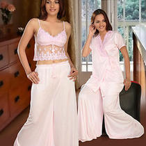 Sleep Wear Set 3pc Top  Bell Bottom  & Over Coat Fancy Night Dress 1064 Light Sh Photo