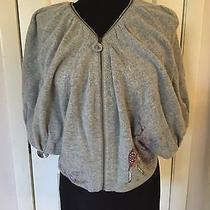 Sleeping on Snow Anthropologie Knit Sweater Painted Zipppered Shawl Shrub Top  Photo