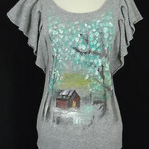Sleeping on Snow Anthropologie Sweater Top Gray Painted Flutter Sleeves Size M Photo