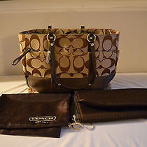 Slightly Used Canvas and Leather Coach Diaper Bag Tote Bag Extra Large Photo