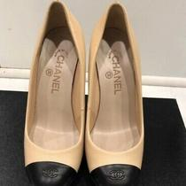 Slightly Used Chanel Heels in Box Beige With Black Toe Size 38 Photo