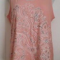 Slimming Blush Pink Beaded Floral Print Boho Casual Tank Top Size Xxl 14/16 Photo