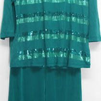 Slinky Brand Sequin Stripe T-Shirt & Pant Set Blue Aqua Sz L New Nwot Photo