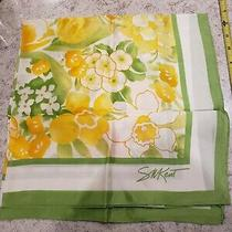 Sm Kent Vintage Scarf Water-Repellent Avon Japan Green White Yellow Pink Flowers Photo