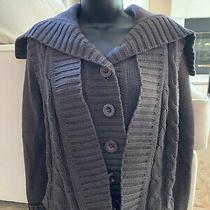 Small Bcbg Sailor Shawl Heavy Cable Knit Cardigan Sweater Gray Jacket Photo