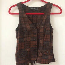 Small Betsey Johnson Brown Plaid Vest in Excellent Condition Photo