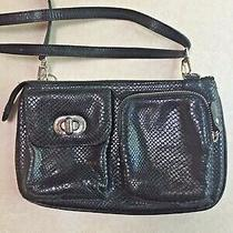Small Black Brighton Bag Purse Organizer Adjustable Strap Textured Leather Photo