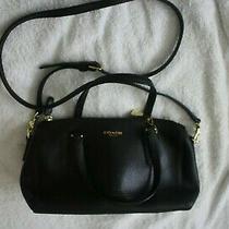 Small Black Coach Leather Handbag / Shoulder Bag Photo