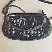 Small Brighton Black Croc Embossed Patent Leather Purse Organizer Adjust Strap Photo