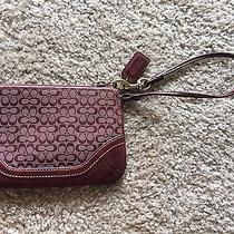 Small Coach Suede Wristlet - Red/burgundy   Photo