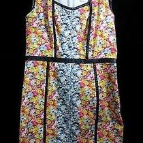 Small Floral Leather Piped Sheath Yigal Azrouel Mid Calf Dress Made in New York  Photo