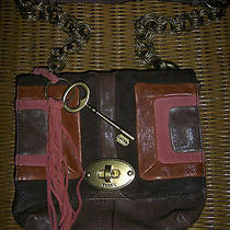 Small Fossil Brown Leather Shoulder Bag W/retro Orange Pattern Nwot Chain Strap Photo