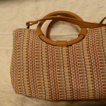 Small Fossil Fully Lined Multicolor Woven Ring Tote Shoulder Bag  Photo