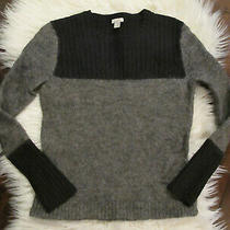 Small Fossil Sweater Striped Pullover- Nylon Mohair Wool Silk Blend Gray/black  Photo