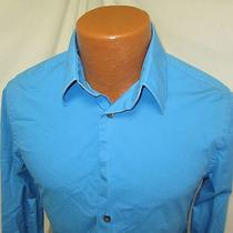 (Small) Men's Express Dress Shirt Blue Modern Fit 14 14.5 Photo