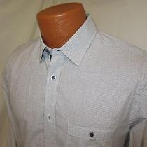 (Small) Men's Express Dress Shirt Gray Checked Slim Fit/fitted Photo