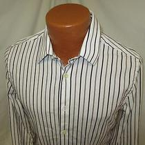 (Small) Men's Express Dress Shirt White Black Red Striped Fitted Slim Fit Photo