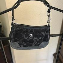 Small Navy Suede Coach Purse  Photo