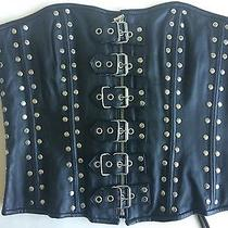 Small Nw Real Leather Lace-Up Corset Front Buckles Studded Lamb Needs Cleaned Photo
