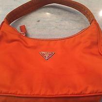 Small Prada Nylon Pouchette   Orange Photo