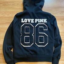 Small S/p Victorias Secret Faux Fur Lined Jacket Black Hoodie Love Pink 86  Photo