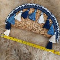 Small Straw Half Moon Taco Natural Straw Clutch With Blue Tassels Handbag  Photo