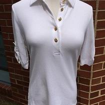 Small Tory Burch Polo Style Shirt W Gathered Sleeves and Gold Tone Logo Button Photo
