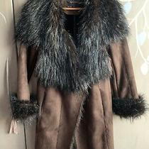 Smashing Zara Basic Suede Brown Artic Fur Collar and Cuffs. Small. Used Photo