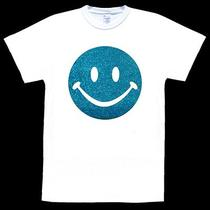 Smiley Face Ultra Glitter Sparkle Bling on White T-Shirt Adult Sizes 60s 70s Photo