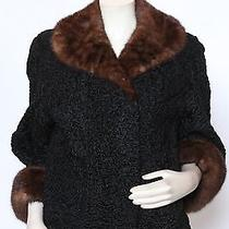 Smith Chicago Vintage 50s Black Persian Lamb & Mink Fur Jacket Coat Sz M / L Photo