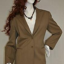 Smooth Wool Lafayette 148 Ny Khaki 2 Pc Top Stitched Jacket Blazer Pant Suit 6 S Photo