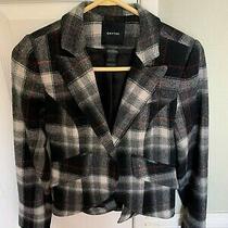 Smythe Blazer Size 4 Wool Peak-Lapel Grey Multicolor Plaid Print. So Flattering Photo