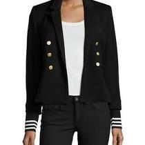 Smythe College Knit Striped Cuff Black Jacket Blazer Size 10 Photo