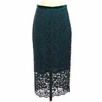 Smythe Forest Green Velvet Waist  Lace Overlay Midi Pencil Skirt Photo