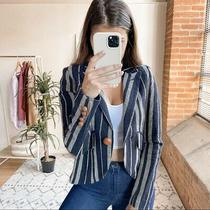 Smythe Hammock Striped Linen Blazer Jacket Navy Grey Women's Size 4 Photo
