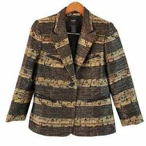 Smythe Les Vestes Gold Black Tweed Blazer Size 10 Photo