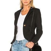 Smythe One Button Wool Blend Blazer Jacket Black Nordstrom Shopbop 10 L Nwt 695 Photo